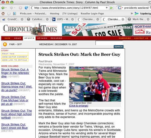 Mark the Beer Guy, featured in the Chronicle Times