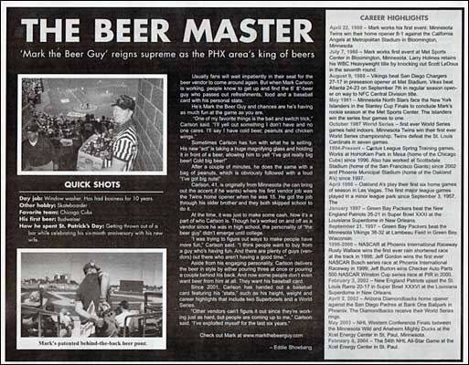Mark the Beer Guy, featured in the East Valley Tribune
